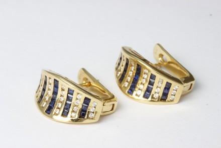 Hedbergs Örhängen 18k Guld Creoler Diamant Safir