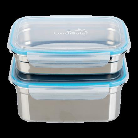Matlåda 2-pack Medium, Brushed Stainless, 560 ml & 1