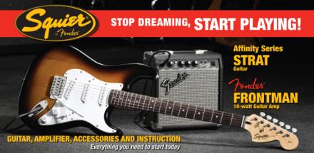 Squier Strat Elgitarrpaket with Fender Frontman 10G Sunburst