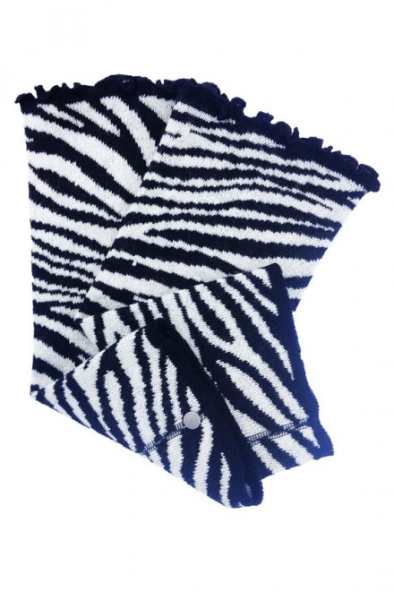 Benvärmare i ull - zebra