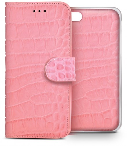 Celly Luxury Magnet Croco Wallet (iPhone 6) - Rosa