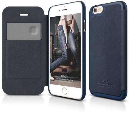 Elago Leather Flip Case (iPhone 6 Plus) - Blå
