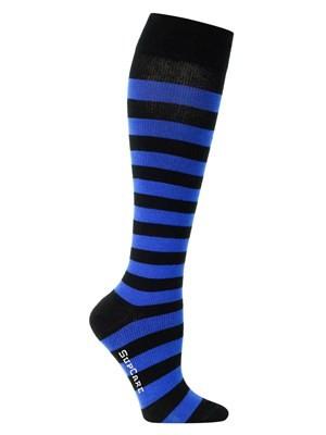 Randiga stödstrumpor blå & svart