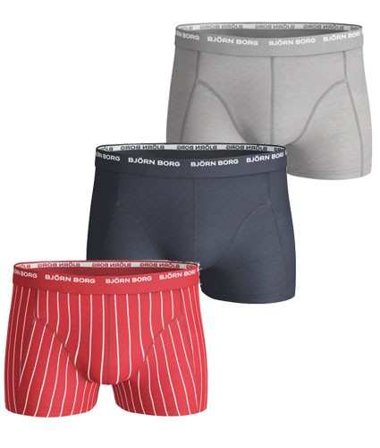 Björn Borg 3-pack Short Shorts - Basic Pinstripe, High Risk Red (M)