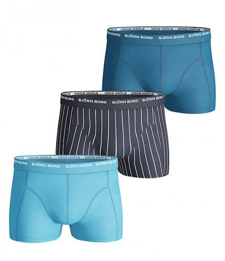 Björn Borg 3-pack Short Shorts - Basic Pinstripe, Mood Indigo (M)