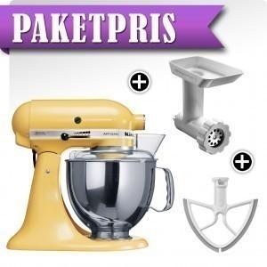 KitchenAid Artisan KSM150PSEMY Gul + Köttkvarn + Beaterblade